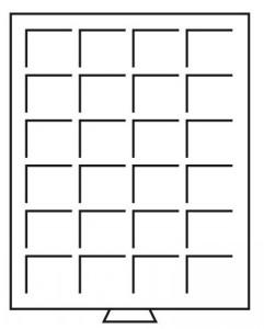 Бокс на 24 квадратных ячейки для монет 42х42 мм