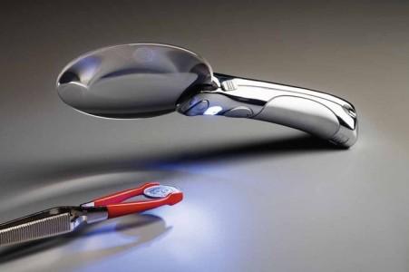 Лупа без оправы CHOPARZ 90 мм 2,5 кратная 2 светодиода с хромированной ручкой