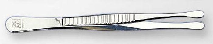 Пинцет прямой с закругленной лопаткой стандарт 12 см (ПОД ЗАКАЗ)