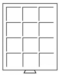 Бокс на 12 прямоугольных ячеек для монет 69х62 мм