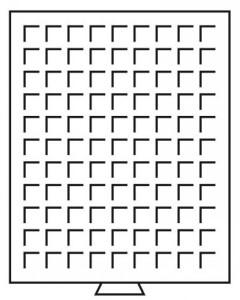 Бокс на 99 квадратных ячеек для монет 19х19 мм