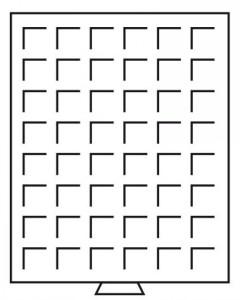 Бокс на 48 квадратных ячеек для монет 28х28 мм