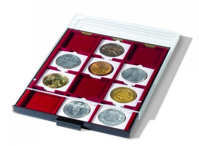 Бокс на 12 монет в капсулах QUADRUM XL 67х67 мм