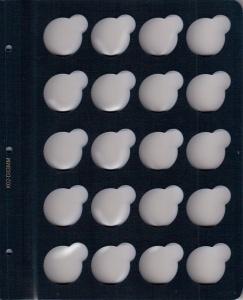 Синий лист для монет в капсулах с ячейками 33 мм (для биметаллических монет)